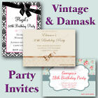 Vintage & Damask Style Birthday Party Invitations 18th 21st 30th 40th 50th 60th