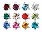 Birthstone Option Surgical Stainless Steel Ear Piercing Prong RD3.0 Stud Earring