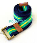 New Polo Ralph Lauren Pony Double Ring Canvas Belt Striped M