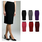 WOMENS KNEE LENGTH CASUAL PLAIN PENCIL SKIRT WITH ELASTICATED WAIST BAND