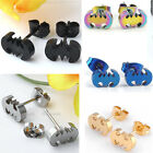 Pair Punk Cool Stainless Steel Batman Earring Unisex Ear Studs Body Piercing