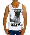 NEW MENS PUG SELFIE SINGLET TANK TOP EURO FIT CASUAL GYM FASHION MUSCLE SHIRT