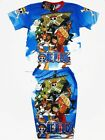 One Piece Animation Luffy Boy Outfit T-Shirt+Shorts #090 Blue Size 4-10 age 3-10