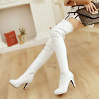 Women Over Knee High Boots Patent Leather High Heel Stilettos Zip Slip On Shoes