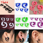 2x Acrylic Fake Spiral Gauge Plug Cheater Stretcher Flesh Earrings Piercing EE
