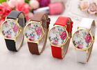 Fashion Lovely Flower White Dial Ladys Womens Quartz Leather Wrist Watch HT