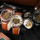 4 Color Steampunk Skeleton Automatic Mechanical Leather Sport Wrist Men's Watch