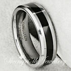 COOL MENS TUNGSTEN CARBIDE BLACK LINE WEDDING WIDE RING BAND NEVER TARNISH JS049