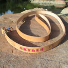 """Dog Leash 1"""" Tan 6' 4' 3' 2' SOLID REAL LEATHER LEAD Stain Personalized Pet Name"""