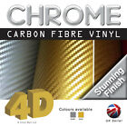 Chrome 4D Gloss Carbon Fibre Vinyl Bubble Free *** Silver ** Gold ** Stunning***