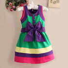 Girls Baby Summer Colorful Bow Belt Style Sleeveless Party Kids Holiday Dress