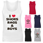 Womens I Love Shoes Bags and Boys Slogan Vest Tank Top NEW UK 8-18