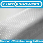Euroshowers White Diamond Shower Curtains - Weighted Hem (Large Wide Long Short)