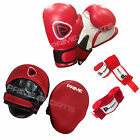 BOXING GLOVES SPARRING FIGHT TRAINING PUNCH BAG FOCUS PADS HAND WRAPS SET 3