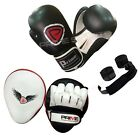 BOXING GLOVES SPARRING TRAINING PUNCH BAG REAL LEATHER FOCUS PADS HAND WRAPS SET