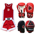 KIDS UNIFORM BOXING SET 2 PIECES WITH BOXING GLOVES FOCUS PADS RED 5-12 YEARS