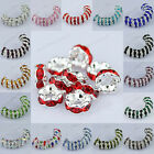 Fashion Czech Crystal Rhinestone Silver Rondelle Round Spacer Beads Findings 6mm