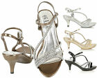 Womens Evening Sandals Ladies Mid Heel Diamante Wedding Prom Party Shoes Size