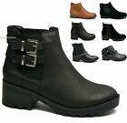 New Womens Ladies Ankle Boots Flat Low Heel Pull On Elasticated Biker Shoes Size