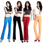 Women's Solid Color Stretch Denim Jeans Pants OL Slim Bell-bottomed Trousers Hot