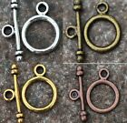 30Sets Round Toggle Clasp Gold&Silver&Bronze&Copper Tone 4Colors