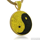 Gold Black and Yellow Ying Yang Czech Crystal Iced Out Pendant Bling
