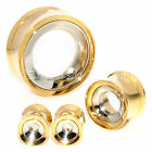 Multiple Size Two Tone Outer Gold Silver Stainless Steel Flesh Tunnels Ear Plugs
