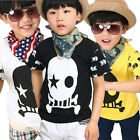 Kids Toddler Baby Boys Short Sleeve Tee Tops  Skull Summer T-shirts Age 2-7 Year