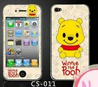 Disney Pooh iPhone4/4s Screen Protector Crystal Front/back Cover Film Guard cute