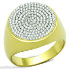 Large Circle Design Micro-Pavé Setting 925 Sterling Silver Gold EP Best HQ Ring