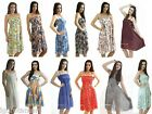 WOMENs LADIES BRIGHT FLORAL SUMMER STRAPPY RUCHED HOLIDAY SUN DRESS LONG SKIRT