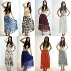 Womens Long Gypsy Floral Skirts Ladies Stretch Full Length Skirt Dress 8 10 12
