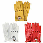 PRIME TOP QUALITY REAL SOFT LEATHER MENS DRIVING GLOVES WHITE YELLOW RED D-507