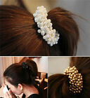 Fashion Women Pearls Beads Hair Band Rope Scrunchie Ponytail Holder New