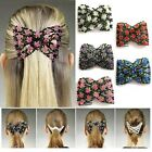 FD683 Magic Stretch Rose Flower Bow Glass Bead Hair Head Comb Cuff Double Clips/