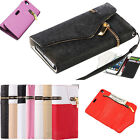 Zipper PU Leather Flip Wallet Case Cover Card Pouch For Apple iPhone 5 5S 4 4S