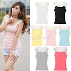 Women's Lace Sheer Hollow-Out Crochet Slim Tank Tops Cami Shirt Vest Blouses