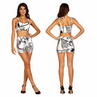Slim Fashion Women Two-piece Body Graffiti Printing Bandage Sleeveless Playsuit