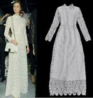 Victorian White Guipure Lace embroidered Crochet Long Sleeve maxi Dress S M L