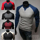 New Men's Fashion Casual Slim Fit Crew-neck Long Sleeve 5 Color Tops Tee T-shirt