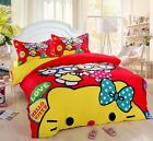 ** Red Hello Kitty Sisters Single Bed Quilt Cover Set - Flat or Fitted Sheet **