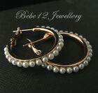 Pearls Hoop/Ring Earring/Rose Gold/White Gold Plated/RGE422