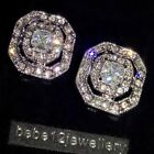 Simulated Diamond/White/Gold Plated Square Stud Earring/RGE271