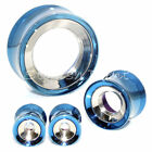 Multiple Size 2-Tone Outer Blue/Inner Silver Stainless Steel Flesh Tunnels Plugs