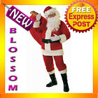 C403WB Soft Velour Santa Claus Suit Clause Christmas Adult Costume + Wig & Beard