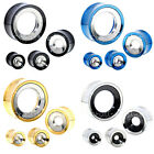 10 Sizes Available 2-Tone Stainless Steel Screw Fit Flesh Tunnels Ear Plugs