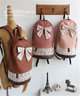 Women Faux Leather Lace Backpack Bag Schoolbag Tote Handbag Bookbag Bow Cute