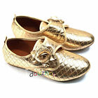 s034q54 New Casual Womens Shoes Flat Low Heel Gold Flower Designed Cute Leisure