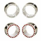 Value Pack 2 PAIRS Clear Red Blended Crystals Silver Steel Flesh Tunnels Plugs