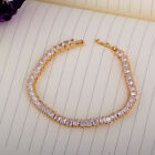 HS14 CRYSTAL RHINESTONE Chic 18k Gold Filled clear white BLACK Bracelet 20cm